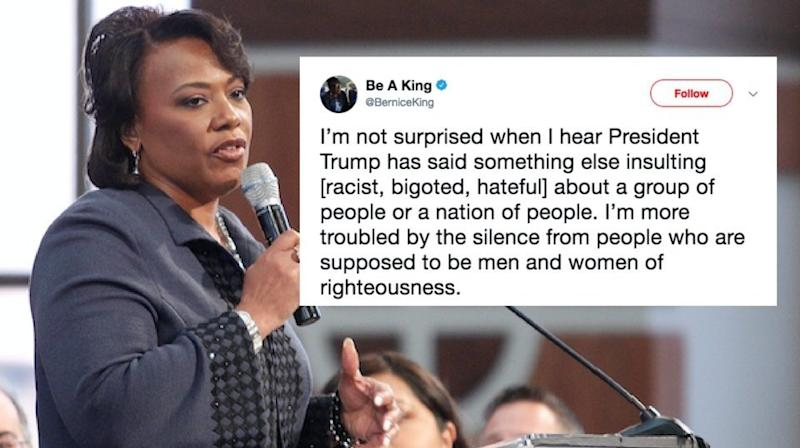 Bernice King Says Trump's Racist Comments Are 'Troubling To Our Humanity'