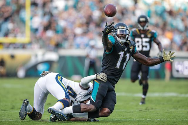 <p>Jacksonville Jaguars wide receiver Marqise Lee (11) nearly makes a catch near the goal line in overtime as Los Angeles Chargers cornerback Michael Davis (43) defends during the game between the Los Angeles Chargers and the Jacksonville Jaguars on November 12, 2017 at EverBank Field in Jacksonville, Fl. (Photo by David Rosenblum/Icon Sportswire via Getty Images) </p>