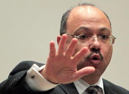 Egypt's newly appointed Finance Minister Hany Kadry Dimian talks during a news conference in Cairo