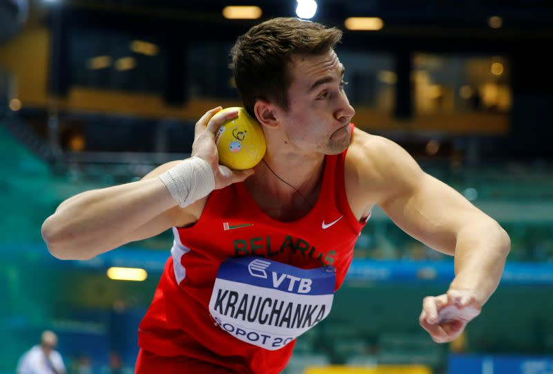 FILE PHOTO: Krauchanka of Belarus competes during the men's shot put heptathlon event at the world indoor athletics championships at the ERGO Arena in Sopot