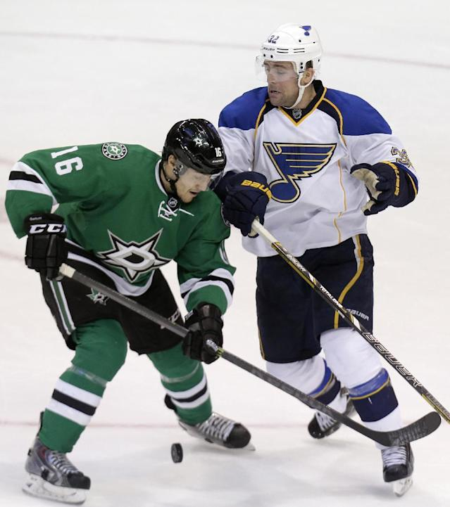 Dallas Stars left wing Ryan Garbutt (16) and St. Louis Blues left wing Chris Porter (32) skate for the puck during the second period of an NHL hockey game Friday, April 11, 2014, in Dallas. (AP Photo/LM Otero)