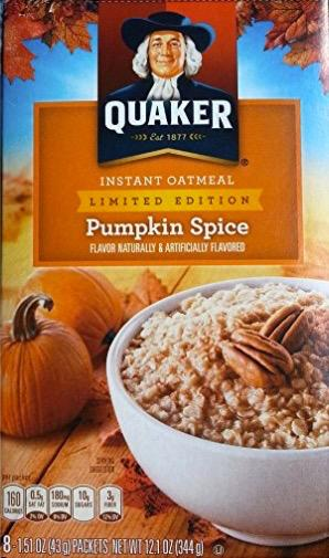 <p>But why stop with coffee? Enjoy pumpkin spice in every aspect of breakfast with this 'Limited Edition' Quaker pumpkin spice oatmeal.<br />(Amazon) </p>
