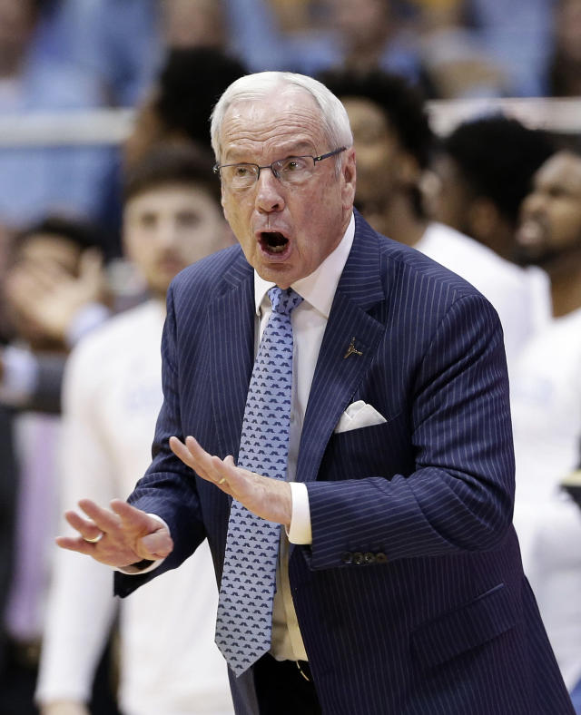 North Carolina head coach Roy Williams reacts during the second half of an NCAA college basketball game against Virginia Tech in Chapel Hill, N.C., Monday, Jan. 21, 2019. (AP Photo/Gerry Broome)
