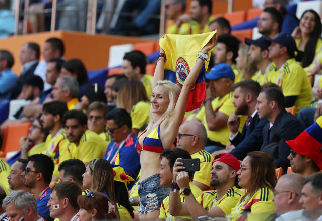 Soccer Football - World Cup - Group H - Colombia vs Japan - Mordovia Arena, Saransk, Russia - June 19, 2018 Colombia fans REUTERS/Ricardo Moraes