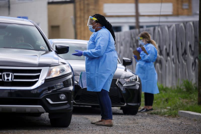 Drive-through testing facility for the coronavirus disease (COVID-19) in New Orleans