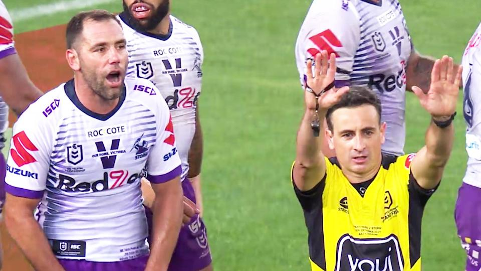 Cameron Smith (pictured left) shocked after Gerard Sutton's (pictured right) decision to send Jahrome Hughes to the sin-bin in the NRL grand final.