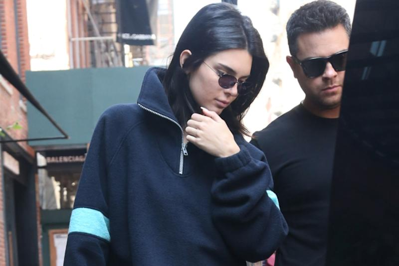 Kendall Jenner Wears Oversized Tee and Equally Oversized Yeezy Wave Runners  on Shopping Date With Ben Simmons a49c2e6ee