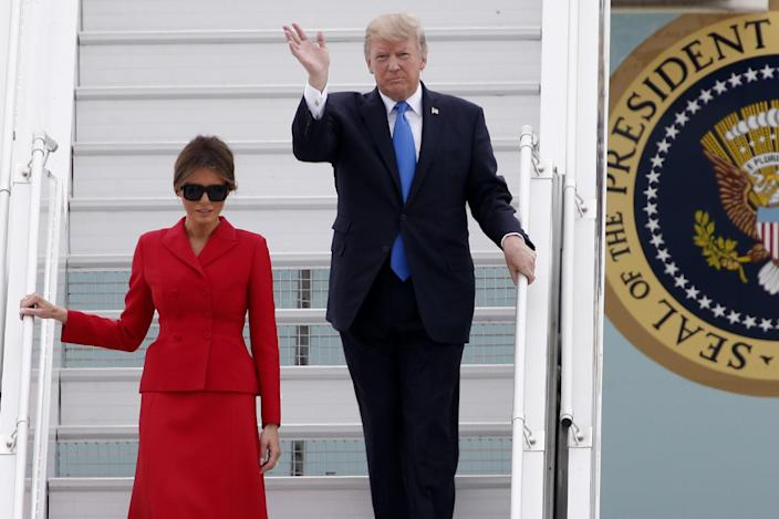 <p>President Donald Trump and First Lady Melania arrive at Orly airport, south of Paris, Thursday July 13, 2017. (Photo: Thibault Camus/AP) </p>