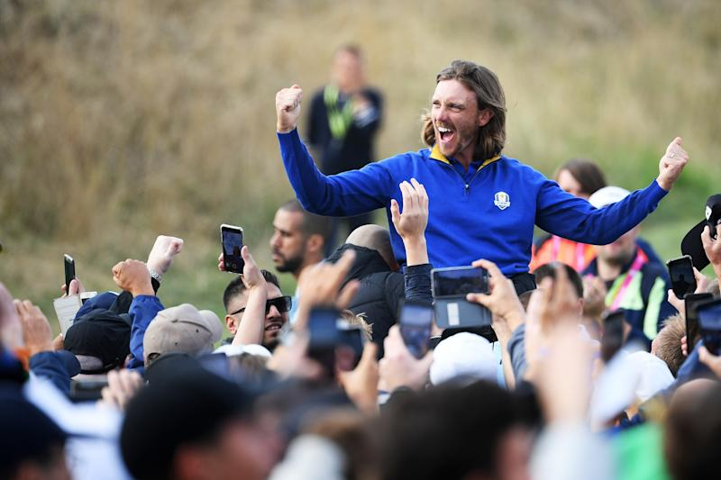 PARIS, FRANCE - SEPTEMBER 30: Tommy Fleetwood of Europe celebrates after winning The Ryder Cup during singles matches of the 2018 Ryder Cup at Le Golf National on September 30, 2018 in Paris, France. (Photo by Ross Kinnaird/Getty Images)