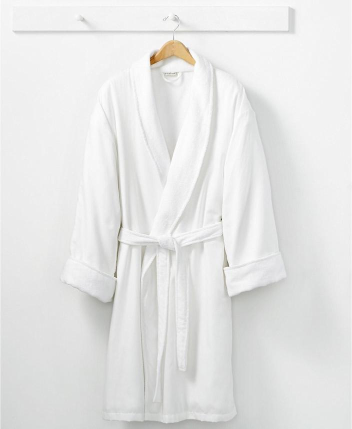 """<p>Nothing wrong with a sexy, lacy robe … but for a Valentine's Day that's all about self-care, we're opting for cozy, comfy and """"wake me when it's April"""" instead.</p> <p><strong>Buy It! </strong>Hotel Collection Robe, Orig. $160 (on sale now for $51.20); <a href=""""https://click.linksynergy.com/deeplink?id=93xLBvPhAeE&mid=3184&murl=https%3A%2F%2Fwww.macys.com%2Fshop%2Fproduct%2Fhotel-collection-cotton-spa-robe-created-for-macys%3FID%3D6676532%26amp%3BCategoryID%3D51483%26amp%3BswatchColor%3DWhite&u1=PEOTheBestValentinesGiftswithWhichtoTreatYourselfawurzburLifGal12563512202102I"""" rel=""""sponsored noopener"""" target=""""_blank"""" data-ylk=""""slk:macys.com"""" class=""""link rapid-noclick-resp"""">macys.com</a></p>"""
