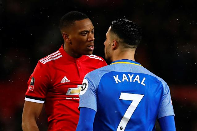 Soccer Football - FA Cup Quarter Final - Manchester United vs Brighton & Hove Albion - Old Trafford, Manchester, Britain - March 17, 2018 Manchester United's Anthony Martial clashes with Brighton's Beram Kayal Action Images via Reuters/Jason Cairnduff