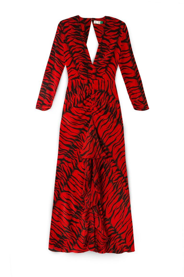 Rixo is the brand of the moment and Willoughby's 'Red Tiger' dress is sure to garner sell-out status [Photo: Rixo]