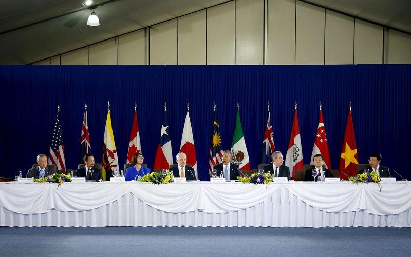 Obama holds a meeting with Trans-Pacific Partnership leaders alongside the APEC Summit in Manila