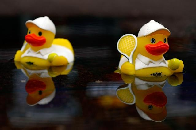 Rubber ducks float in a puddle as rain falls on Day Eleven of the US Open on September 10, 2015 in New York (AFP Photo/Alex Goodlett)
