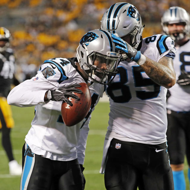 Carolina Panthers wide receiver Mose Frazier (14) celebrates his touchdown catch with tight end Evan Baylis (85) during the first half of a preseason NFL football game against the Pittsburgh Steelers in Pittsburgh, Thursday, Aug. 30, 2018. (AP Photo/Keith Srakocic)