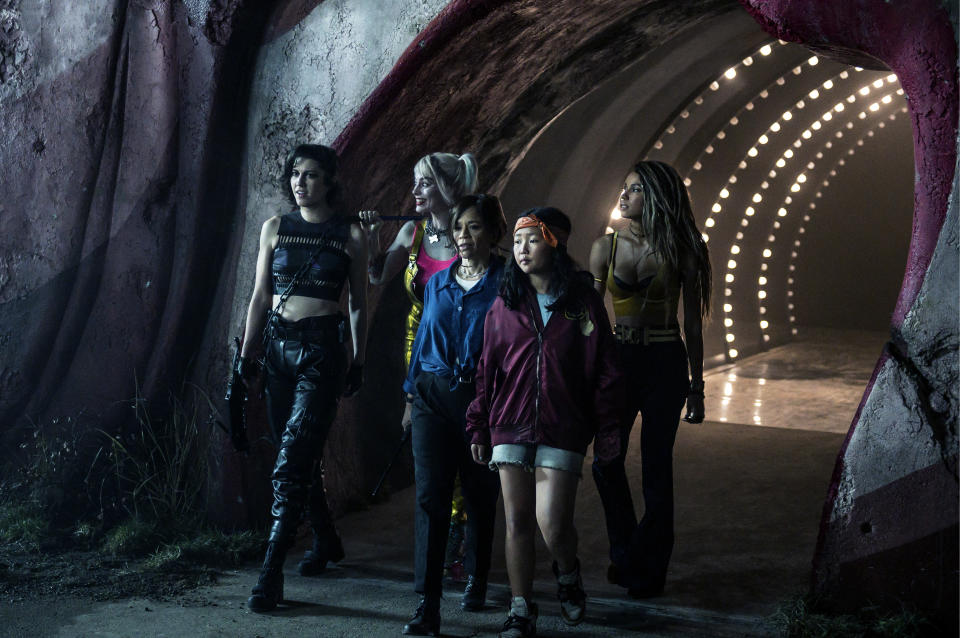 """(L-r) Mary Elizabeth Winstead as Huntress, Margot Robbie as Harley Quinn, Rosie Perez as Renee Montoya, Ella Jay Basco as Cassandra Cain and Jurnee Smollett-Bell as Black Canary in Warner Bros. Pictures' 'Birds of Prey (And The Fantabulous Emancipation of Harley Quinn.'<span class=""""copyright"""">Claudette Barius—Warner Bros. <em>Harley Quinn: Birds of Prey</em></span>"""