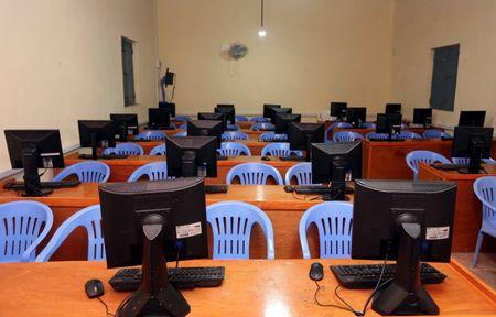 An empty computer science classroom is seen at the University of Somalia in Mogadishu