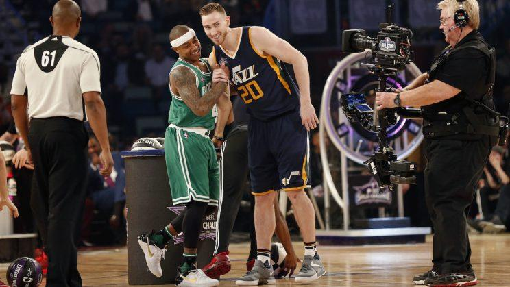 Gordon Hayward joins Isaiah Thomas in the center of the spotlight. (AP)