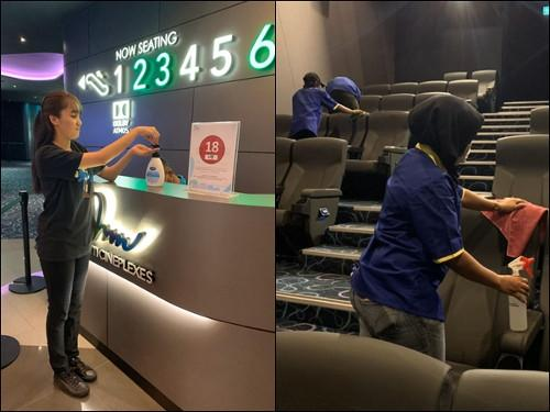 mmCineplexes is one of the cinemas that provide hand sanitizers and are doing a more thorough sanitizing in the halls.
