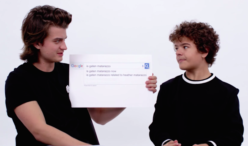 "Gaten Matarazzo literally falls out of his chair answering the most Googled ""Stranger Things"" questions with Joe Keery"