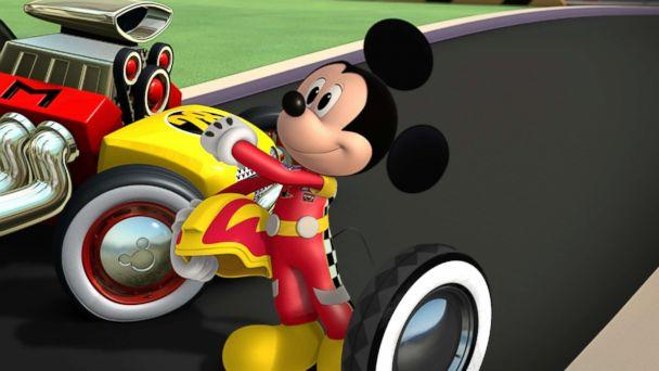 PHOTO: 'Mickey and the Roadster Racers' - 'Mickey's Wild Tire!' has Mickey Mouse trying to surprise racing champion Jiminy Johnson with a tire from his first roadster episode of on Disney Junior. (Disney Junior via Getty Images)