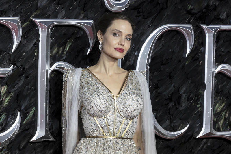 Actress Angelina Jolie poses for photographers on arrival at the European Premiere of the film 'Maleficent Mistress of Evil' in central London on Wednesday, Oct. 9, 2019. (Photo by Grant Pollard/Invision/AP)