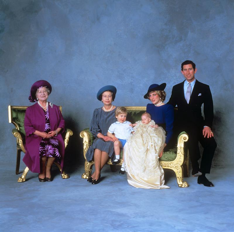 THREE-MONTH-OLD PRINCE HENRY OF WALES WITH THE PRINCE AND PRINCESS OF WALES, ELDER BROTHER PRINCE WILLIAM, THE QUEEN AND THE QUEEN MOTHER ON THE OCCASION OF HIS CHRISTENING. (Photo by PA Images via Getty Images)
