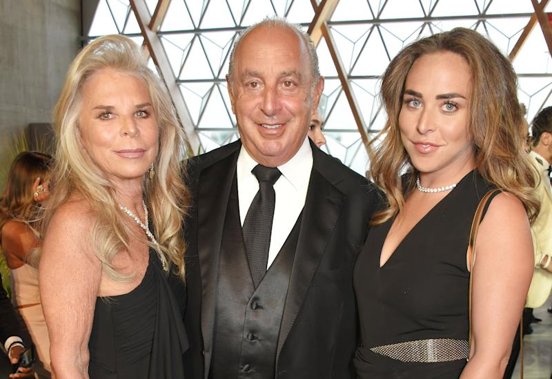 (L to R) Tina Green, Sir Philip Green and Chloe Green attend the Fashion for Relief cocktail party during the 70th annual Cannes Film Festival at Aeroport Cannes Mandelieu on May 21, 2017 in Cannes, France. (Photo by David M Benett/Dave Benett/Getty Images)