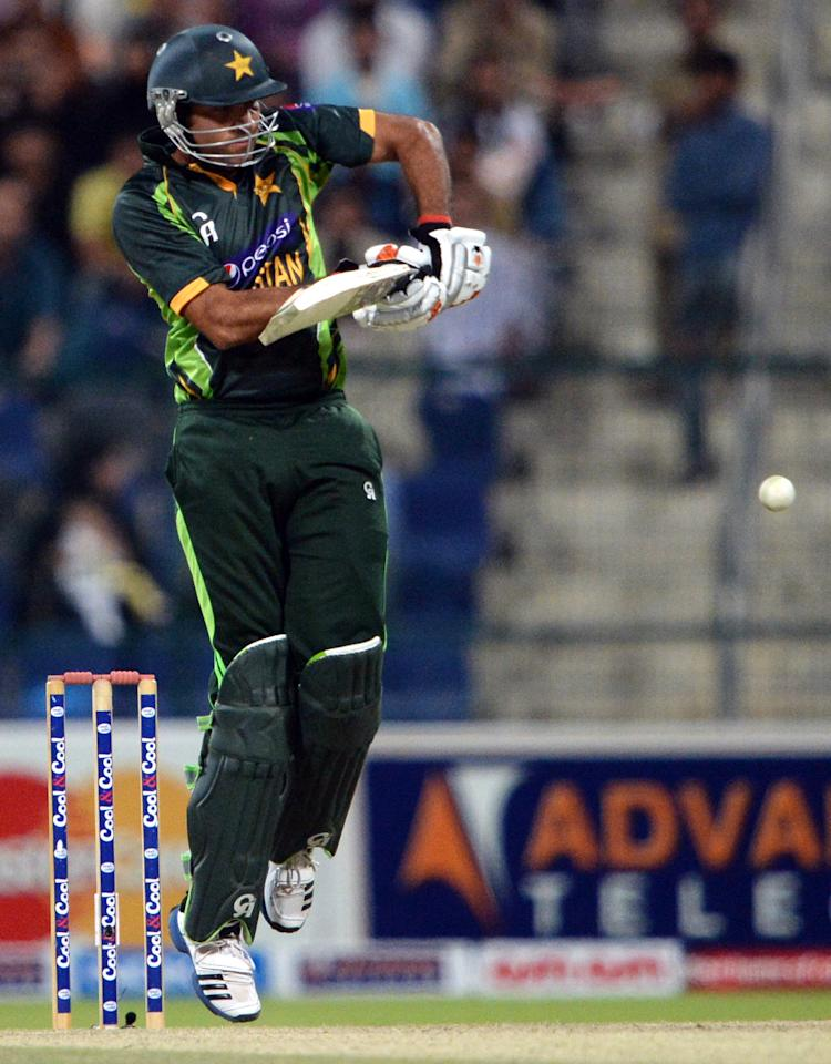 Pakistani batsman Sohaib Maqsood plays a shot during the fourth day-night international in Sheikh Zayed Cricket Stadium in Abu Dhabi on November 8, 2013. Pakistan were chasing a stiff target of 267 in 50 overs. South Africa had made 266-5 in their 50 overs with opener Quinton de Kock hitting 112. South Africa lead the five-match series with 2-1. AFP PHOTO/ Asif HASSAN        (Photo credit should read ASIF HASSAN/AFP/Getty Images)
