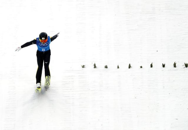 Nordic Combined Events - Pyeongchang 2018 Winter Olympics - Men's Team Gundersen LH Competition - Alpensia Ski Jumping Centre - Pyeongchang, South Korea - February 22, 2018 - Akito Watabe of Japan competes. REUTERS/Kai Pfaffenbach