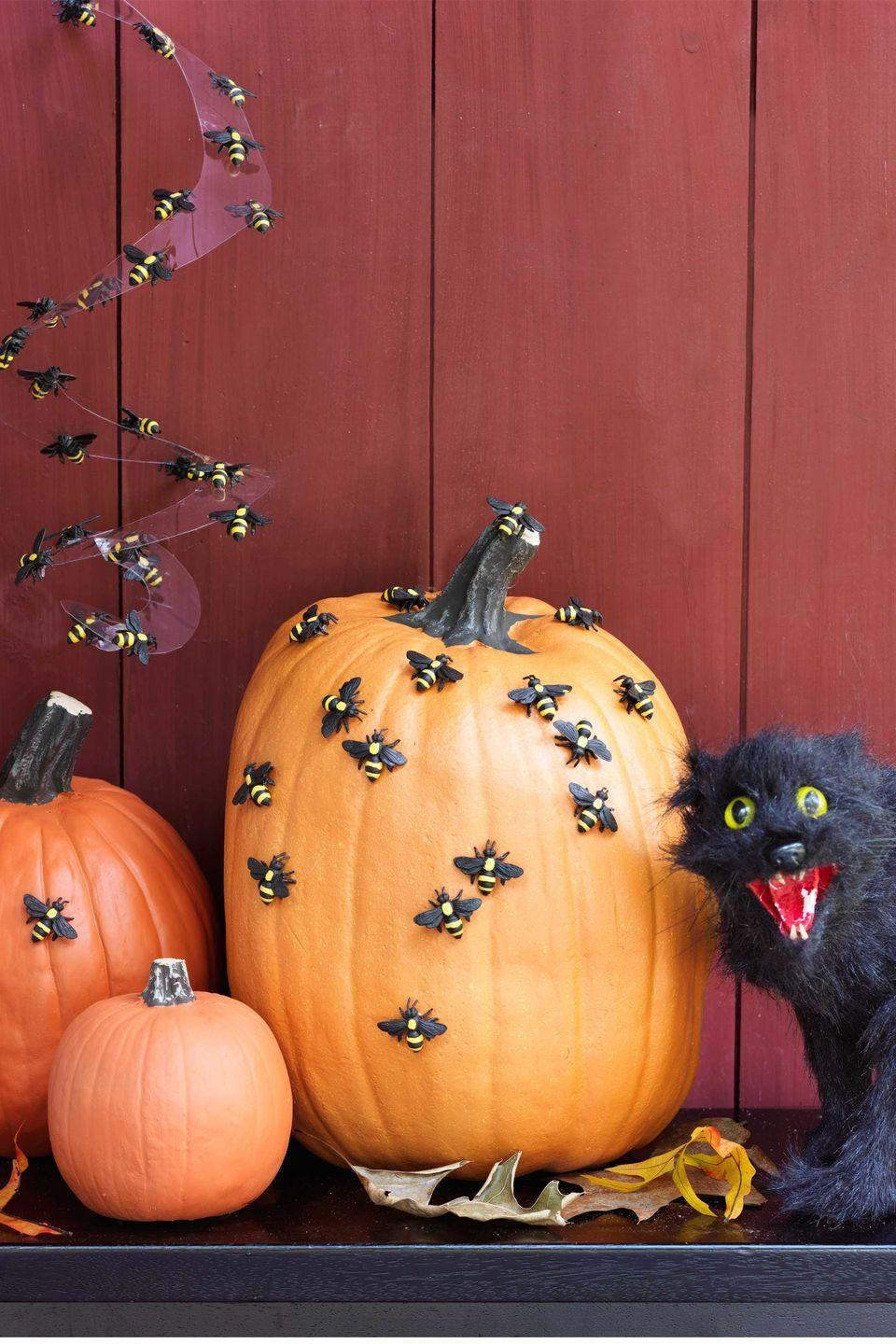 """<p>The appearance of bugs hovering over your <span class=""""redactor-unlink"""">pumpkin display</span> will frighten — and delight — little guests. Cut a sheet of <span class=""""redactor-unlink"""">acetate</span> into a 24""""-diameter circle. Starting from the outside, cut in a spiral about 1½"""" wide, leaving a small circle in the middle. Hang the spiral from its widest part. Stick about 40 craft bees to the pumpkins and top and bottom of the acetate.</p><p><strong>What You'll Need</strong>: <a href=""""https://www.amazon.com/10pcs-Yellow-Bumble-Cabochons-Animals/dp/B07D9PWCC9/ref=sr_1_2_sspa?dchild=1&keywords=craft+bees&qid=1594998452&sr=8-2-spons&psc=1&spLa=ZW5jcnlwdGVkUXVhbGlmaWVyPUExUkdTNTVFRU9WSk9DJmVuY3J5cHRlZElkPUExMDAxMDY0MUVDN1pKNUw5QVpSNyZlbmNyeXB0ZWRBZElkPUEwMjAyMDU5MjJMSEFaQ1pXRjZDWSZ3aWRnZXROYW1lPXNwX2F0ZiZhY3Rpb249Y2xpY2tSZWRpcmVjdCZkb05vdExvZ0NsaWNrPXRydWU%3D&tag=syn-yahoo-20&ascsubtag=%5Bartid%7C10070.g.1279%5Bsrc%7Cyahoo-us"""" rel=""""nofollow noopener"""" target=""""_blank"""" data-ylk=""""slk:Craft bees"""" class=""""link rapid-noclick-resp"""">Craft bees</a> ($9, Amazon)</p>"""