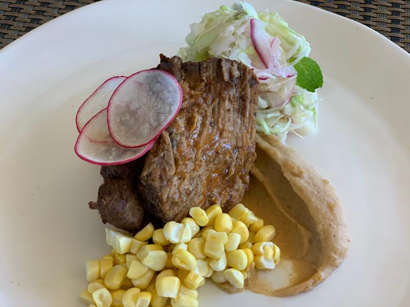 Camila McConaughey's shredded pork, roasted corn and fresh no-mayo coleslaw. Photo: Camila McConaughey