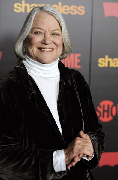 "FILE - In this Jan. 5, 2012 file photo, Louise Fletcher, a cast member in ""Shameless,"" poses at the premiere of the second season of the Showtime television series, in Los Angeles. Fletcher says she's no longer able to watch the movie ""One Flew Over the Cuckoo's Nest"" because the character she won an Oscar for, Nurse Ratched, is so cruel. Fletcher will be in Salem, Ore., on Saturday for the opening of a museum of mental health at the rebuilt Oregon State Hospital, where the 1975 movie was filmed in 1975. (AP Photo/Chris Pizzello, File)"