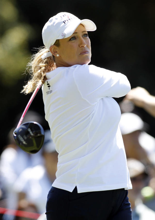 Cristie Kerr hits her tee shot on the second hole during the final round of the LPGA Kia Classic golf tournament in Carlsbad, Calif., Sunday, March 30, 2014. (AP Photo/Alex Gallardo)