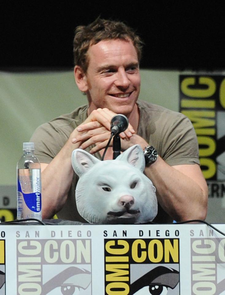 SAN DIEGO, CA - JULY 20: Actor Michael Fassbender speaks at the 20th Century Fox panel during Comic-Con International 2013 at San Diego Convention Center on July 20, 2013 in San Diego, California. (Photo by Kevin Winter/Getty Images)