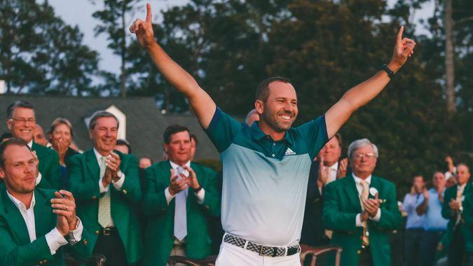 Sergio Garcia, of Spain, celebrates at the green jacket ceremony after the Masters golf tournament, in Augusta, GaMasters Golf, Augusta, USA - 09 Apr 2017.