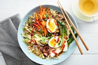 """Veggies, pork, and springy noodles, all in a flavorful broth that takes just minutes to make. <a href=""""https://www.epicurious.com/recipes/food/views/quick-pork-ramen-with-carrots-zucchini-and-bok-choy?mbid=synd_yahoo_rss"""" rel=""""nofollow noopener"""" target=""""_blank"""" data-ylk=""""slk:See recipe."""" class=""""link rapid-noclick-resp"""">See recipe.</a>"""