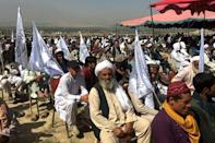 A large crowd of Taliban supporters attended a rally in a vast field to the north of Kabul (AFP/Hoshang HASHIMI)