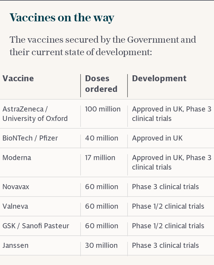 Vaccines secured by the government and current state of development