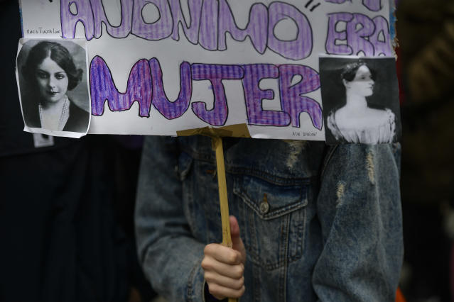 "<p>Demonstrators protest male violence against women and demand equality in labor opportunities as one holds a small banner reading ""Anonymous Woman"" during the general women's strike to commemorate International Women's Day, in Pamplona, northern Spain, Thursday, March 8, 2018. (Photo: Alvaro Barrientos/AP) </p>"