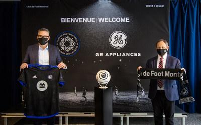 GE Appliances President, Mike McCrea and CF Montreal President,  Kevin Gilmore celebrate the announcement of a multi-year partnership between the brand and club. With this new sponsorship, GE Appliances is now an official partner of all three Canadian MLS teams. (CNW Group/GE Appliances Canada)