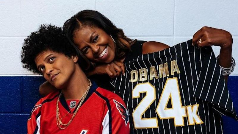 Michelle Obama Gets Surprise Gift at Bruno Mars' Concert -- See the Pics!