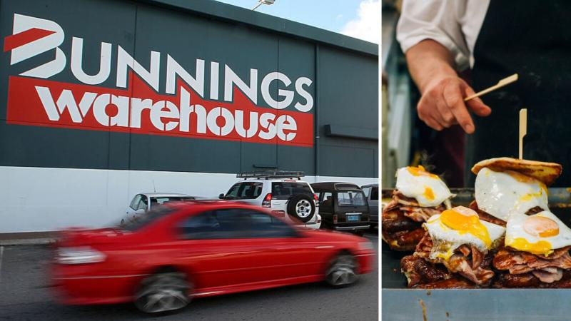 Bunnings Warehouse building on left and bacon and egg rolls on the right.
