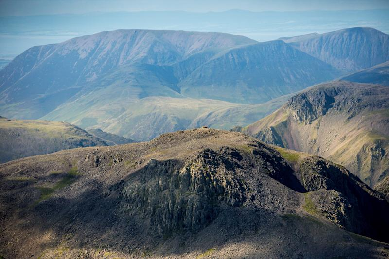 CUMBRIA, UNITED KINGDOM. JULY 2017. Aerial photograph of the summit​ of Scafell Pike, the highest mountain in England, part of the Lake District National Park, on July 12th 2017. (Photograph by David Goddard/Getty Images)