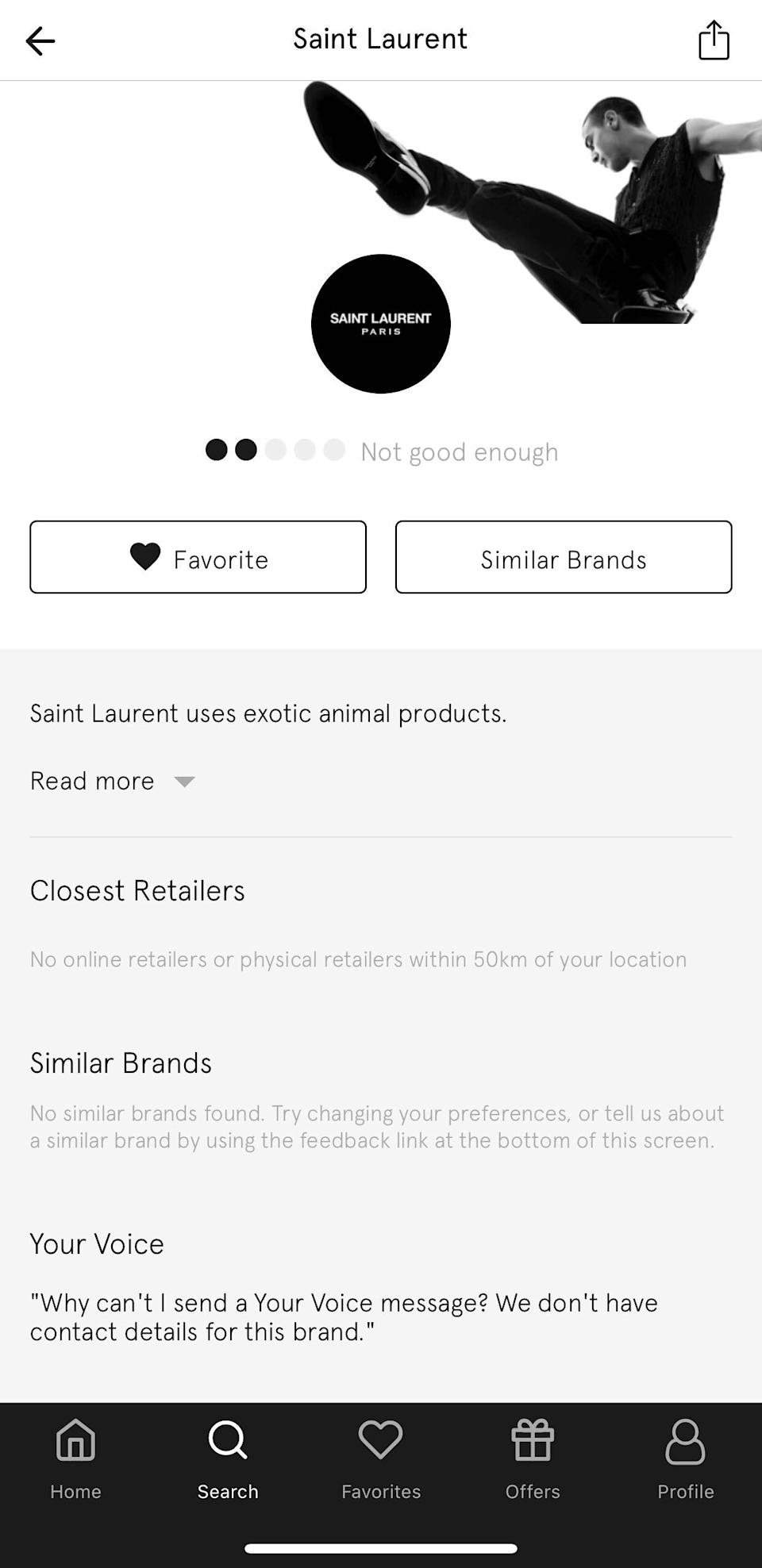 """the Good On You app describes Saint Laurent as """"not good enough"""". (Good On You)"""