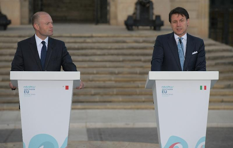 Malta's Prime Minister Joseph Muscat (L) and Italian Prime Minister Giuseppe Conte at the South Europe summit. Their two countries are the closest to North Africa from where the migrants set off to cross the Mediterranean to Europe