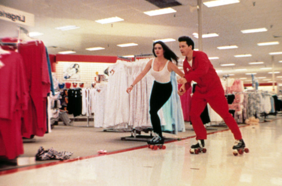 Connelly and Whaley indulge in some after-hours roller skating 'Career Opportunities' (Photo: ©Universal/Courtesy Everett Collection)