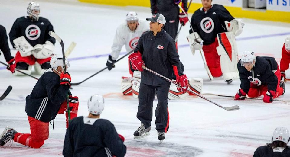 Carolina Hurricanes coach Rod Brind'Amour works with his team during the opening day of training camp on Thursday, September 23, 2021 at PNC Arena in Raleigh, N.C.