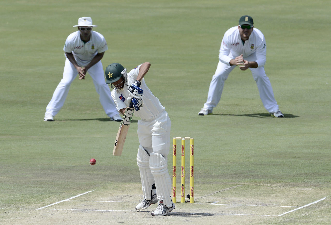 Pakistan Batsman Younis Khan plays a shot during the third day of the third Test match between South Africa and Pakistan on February 24, 2013 at Super Sport Park in Centurion. AFP PHOTO / STEPHANE DE SAKUTIN        (Photo credit should read STEPHANE DE SAKUTIN/AFP/Getty Images)