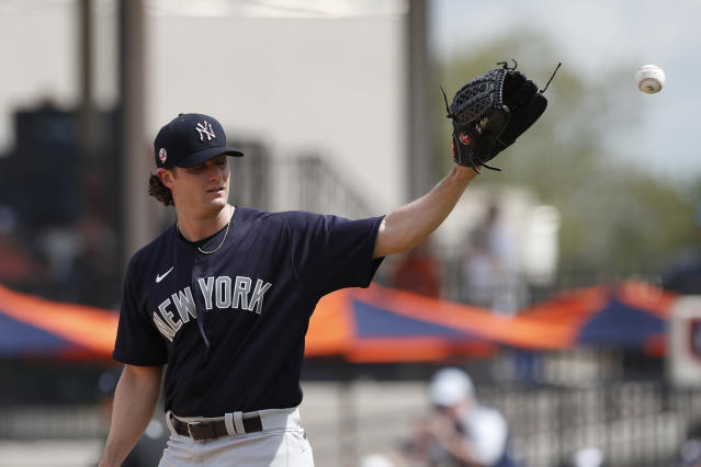 """The addition of pitcher <a class=""""link rapid-noclick-resp"""" href=""""/mlb/players/9121/"""" data-ylk=""""slk:Gerrit Cole"""">Gerrit Cole</a> is a reason the Yankees are one of the favorites to win it all this season. (AP Photo/Carlos Osorio)"""